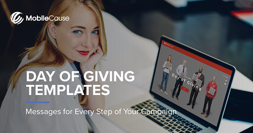 MobileCause Day of Giving Templates landing page image of woman with day of giving campaign on laptop